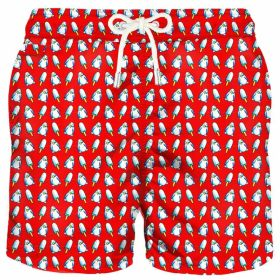 Rode zwemshort met pinguinprint MC2 Saint Barth