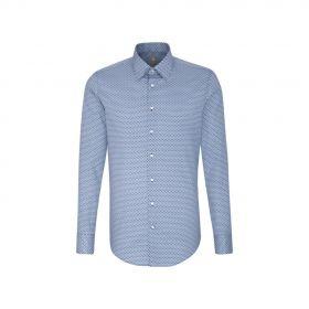 Blauw hemd met klein motief Jacques Britt
