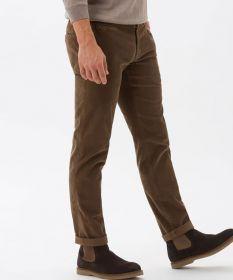 Bruine geribbelde vloeren broek model Fabio In Brax