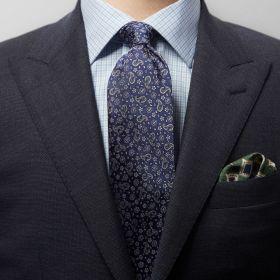 Blauwe das met grijze cashmeretekening Eton