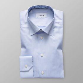 Lichtblauw hemd met bloemenprint in kraag en aan manchette slim Eton