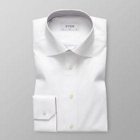 Wit slim hemd met strepen in kraag en aan manchette Eton