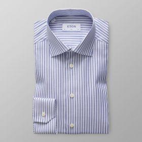 Wit slim hemd met blauwe strepen Eton