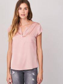 Roze V-hals bloes met borstzak Repeat