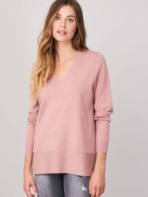 Roze V-hals pull met brede boord Repeat