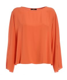 Oranje bloes met split in mouw Seventy