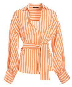 Oranje gestreepte bloes met riem Seventy