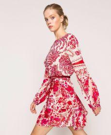 Rood geprint kleed met riem in taille Twinset