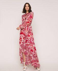 Rode rok met print en volant Twinset