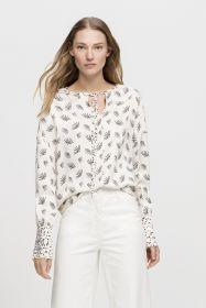 Witte bloes met zwarte waaierprint Luisa Cerano
