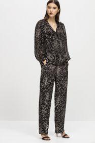 Zwart met wit gespikkeld broek Luisa Cerano