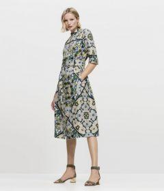 Multicolor gebloemd, lang kleed met riem Luisa Cerano