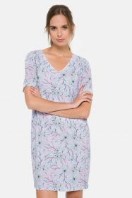 Lila kleed met bloemenprint Terre Bleue