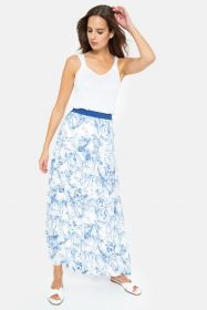 Witte rok met lichtblauwe safariprint Terre Bleue