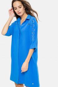 Blauw chemisierkleed met borduur/ gaten op mouw Terre Bleue