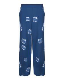 Blauwe broek met witte bloemenprint Terre Bleue
