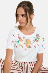 Ecru T-shirt met multicolor cashmere-tekening Terre Bleue