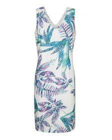 Wit kleed met lila-mint bladerenprint Terre Bleue