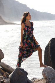 Zwart lang gebloemd kleed Linea Raffaelli