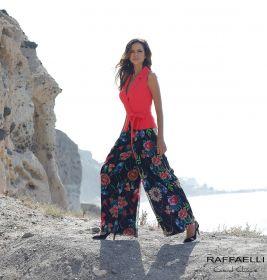 Zwarte, wijde, gebloemde broek Linea Raffaelli