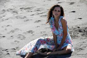 Lichtblauw gebloemd kleed met sleep Linea Raffaelli