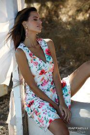 Wit gebloemd V-hals kleed Linea Raffaelli