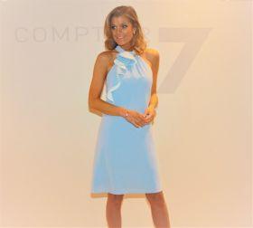 Lichtblauw kleed met jabot Linea Raffaelli