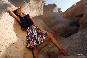 Marine kleed met gebloemde 'rok' Linea Raffaelli