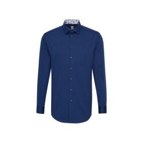 Blauw hemd custom fit met paisley print in kraag en manchette Jacques Britt