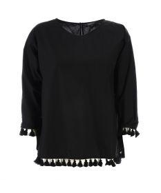 Zwarte bloes met franjes onderaan Seventy