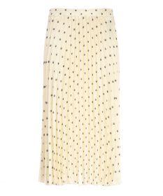 Ecru plissérok met grijze bollen 1970