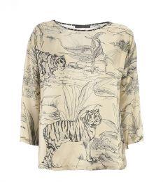 ecru bloes met tijgerprint 1970