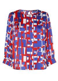 Rood, wit, blauwe bloes met grafische print Caroline Biss