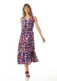 Rood blauw wit lang kleed met grafische print Caroline Biss