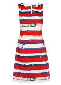 Rood wit blauw kleed met riemenprint Caroline Biss