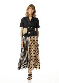 Beige zwarte lange rok met strepen- en bollenprint Caroline Biss