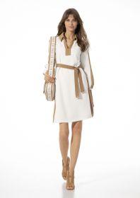 Wit kleed met beige accenten Caroline Biss