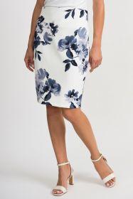 Witte rok met grijsblauwe bloemenprint Joesph Ribkoff