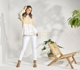 Gele pull met bloes Max & Moi