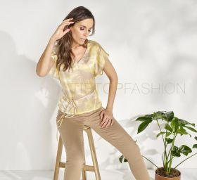 Geel beige gevlekte bloes Max & Moi