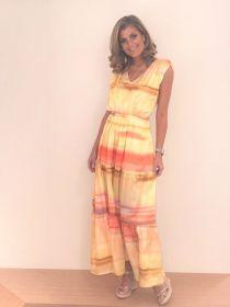 Geel lang kleed met oranje strepen Max & Moi