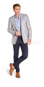 Lichtblauw slim hemd met 'bolletjesmotief' Eton
