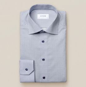 Blauw hemd met kleine bloemenprint slim fit Eton