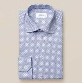 Lichtblauw hemd met 'bolletjesmotief' contemporary fit Eton