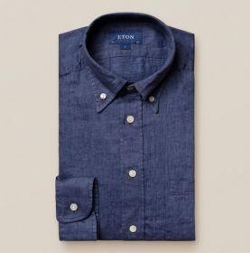Blauw linnen hemd slim fit Eton
