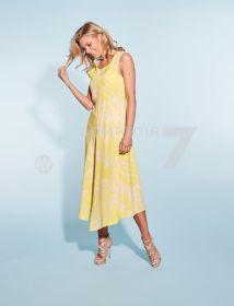 Geel kleed met beige bladerenprint HER