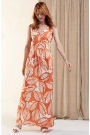 Oranje lang kleed met witte bladerenprint HER