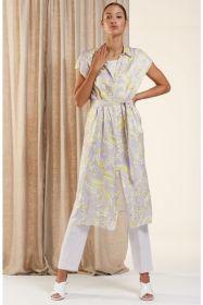 Lila lang kleed met gele print HER