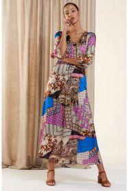 Multicolor lang kleed met verschillende prints HER