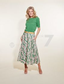 Groene rok met roze bladerenprint Luisa Cerano